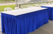 3ft x 6ft Tables w White Cotton TC & Blue Skt