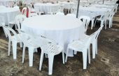 5ft Round Table w White Cotton TC & White PVC Chairs